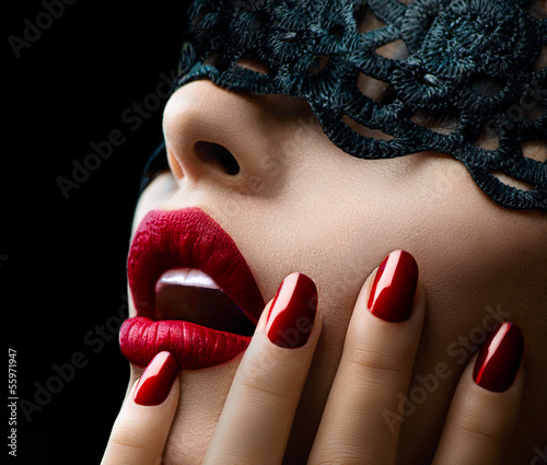 Deurstickers Foto van de dag Beautiful Woman with Black Lace mask over her Eyes