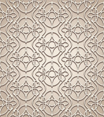 Abstract beige lace seamless pattern