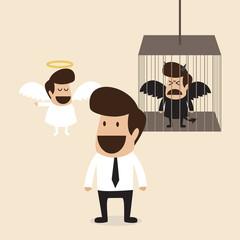 Businessman decide to belive angel mind and lock devil mind in c