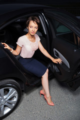 Young woman in the car