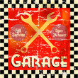 Vintage garage workshop sign, vector