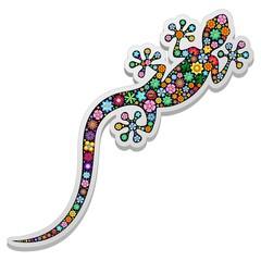 Gecko Lizard Floral Sticker-Adesivo Geco Floreale