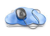File storage in cloud folder. 3D Icon isolated on white backgrou