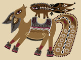 ukrainian tribal ethnic painting, unusual horse, folk illustrati