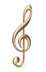 Golden music note. 3D Icon isolated on white background