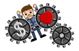 Love & Money Concept - Burden - Business Cartoons Vectors