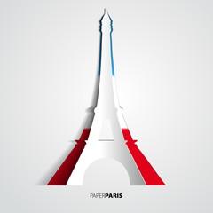Paper Eiffel Tower card - Vector Illustration