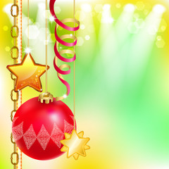 Bright holiday background with Christmas ball, stars and streame