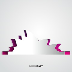 Paper Sydney opera house - Australia - Vector card illustration