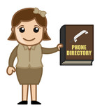 Woman Holding Phone Directory - Business Cartoons Vectors poster