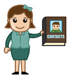 Woman Holding a Contact Directory - Business Cartoons Vectors poster