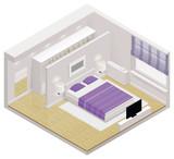 Fototapety Vector isometric bedroom icon