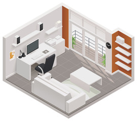 Vector isometric working room icon