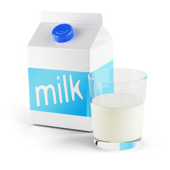glass of milk and tetra pak