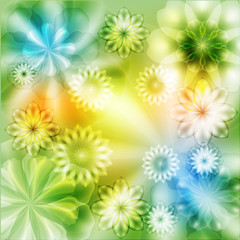 Bright floral background with transparent elements