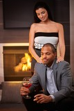 Elegant mixed race couple a home