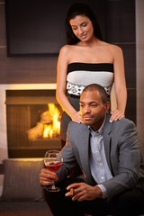Elegant mixed race couple a home