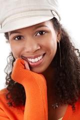 Closeup portrait of smiling afro beauty