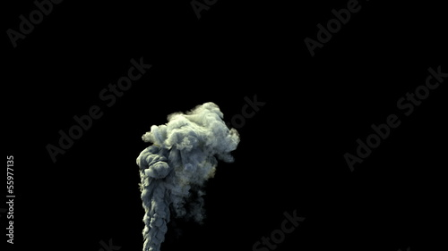high detailed dense smoke rising over balck background