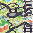 Isometric City Map. Cars, Roads, Houses