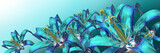 3d blue flowers panoramic
