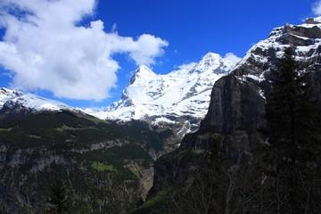 Swiss Alps landscape near Interlaken in Europe.