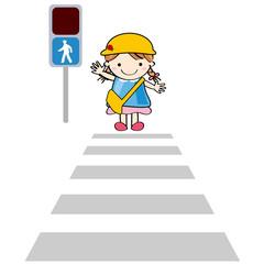 横断歩道 青信号 幼稚園児 子供