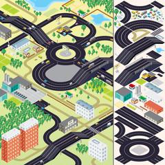 Isometric City Map. Cars, Roads, Houses