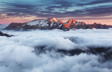 Mountain Marmolada at sunset in Italy dolomites at summer