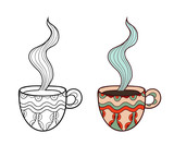Set of two vector doodle coffee cups, outline and subdued colore