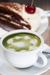 Green tea and Cheesecake