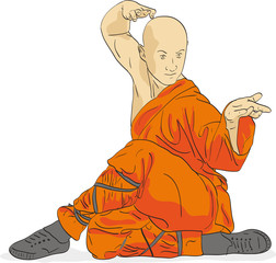 Shaolin warrior monk illustration