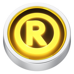 Registered sign round icon