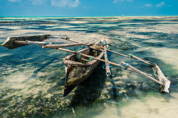 Boat in the low tide, Zanzibar