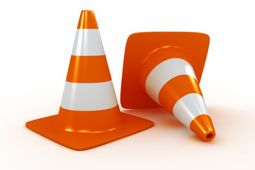 Traffic cones. Warning of under construction on road.
