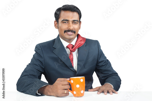 Indian Businessman with coffee cup