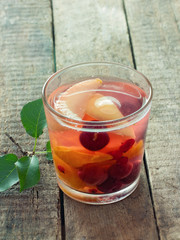 Glass of fruit compote