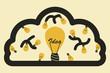 Light bulb with brain. idea concept