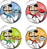 Italian cartoon chef or cook man vector set
