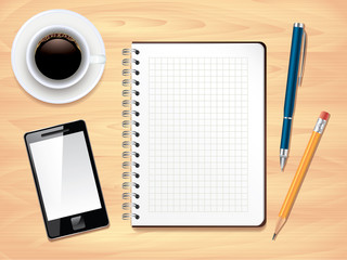 Notepad on office desk top view, photo realistic vector