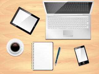 Office desk top view, photo realistic vector