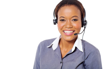 african american call center operator with headphones