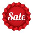 Sale price tag. Red round star sticker.