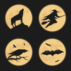 Halloween characters moonlight silhouettes