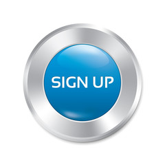 Sign up glossy blue button. Round sticker.