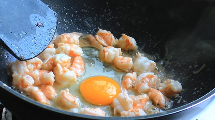 Egg on Frying Pan with Shrimp