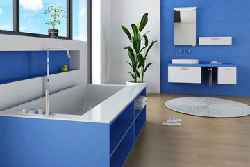 Modern Bathroom interior with blue colored furniture and wall