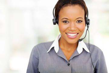 pretty african american call center operator