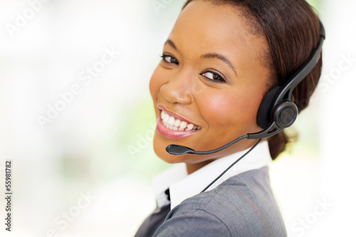 headshot of african call center operator