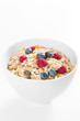 Side view of muesli with fresh berries